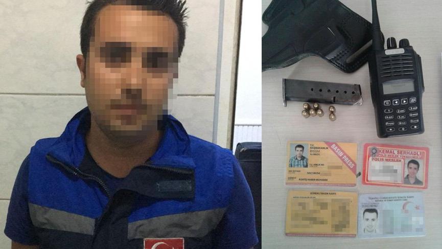Sahte polis ve gazeteci kimliği ile yakalandı