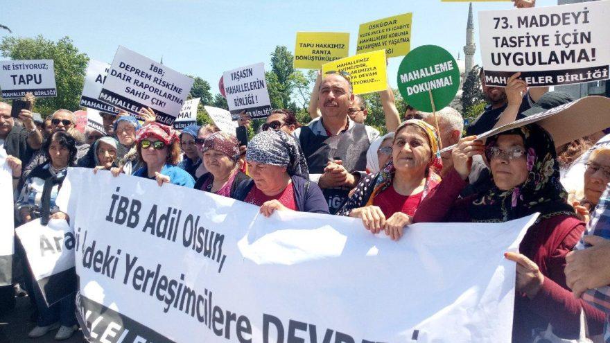 Kentsel dönüşüm mağdurları İBB önünde eylemde