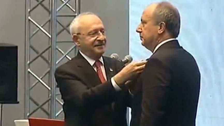 Muharrem İnce CHP rozetini çıkarıp Türk Bayrağı rozeti taktı