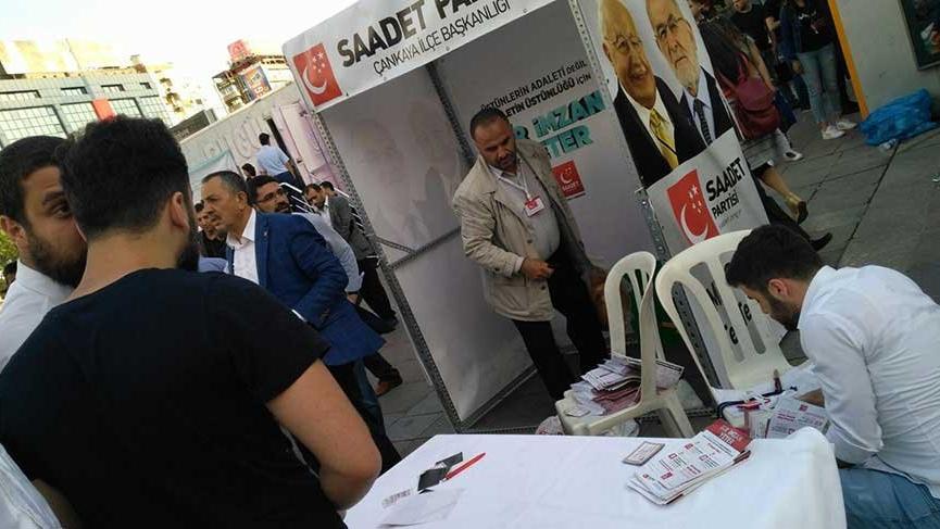 Ankara'da Saadet Partisi standına saldırı gerçekleştirildi
