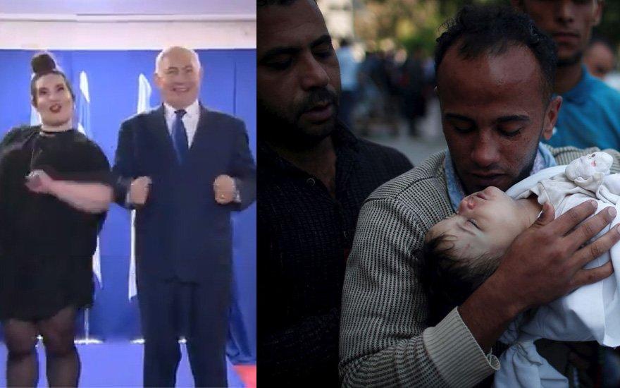 Uluslararası kamuoyunun tepki gösterdiği Netanyahu tepkileri hiç umursamayarak adeta dalga geçer gibi dans etti.