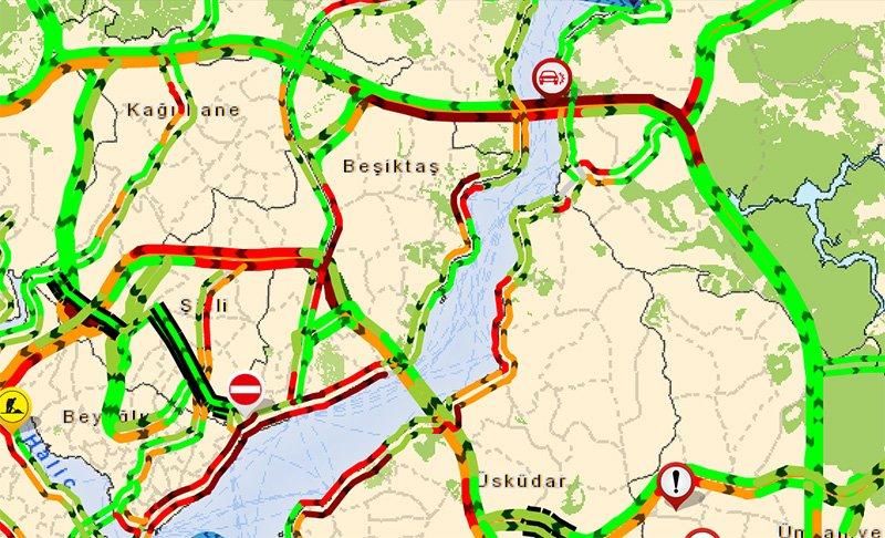 İstanbul Büyük Şehir Belediyesi'nin trafik yoğunluk haritasında FSM her iki yöönde kırmızya döndü