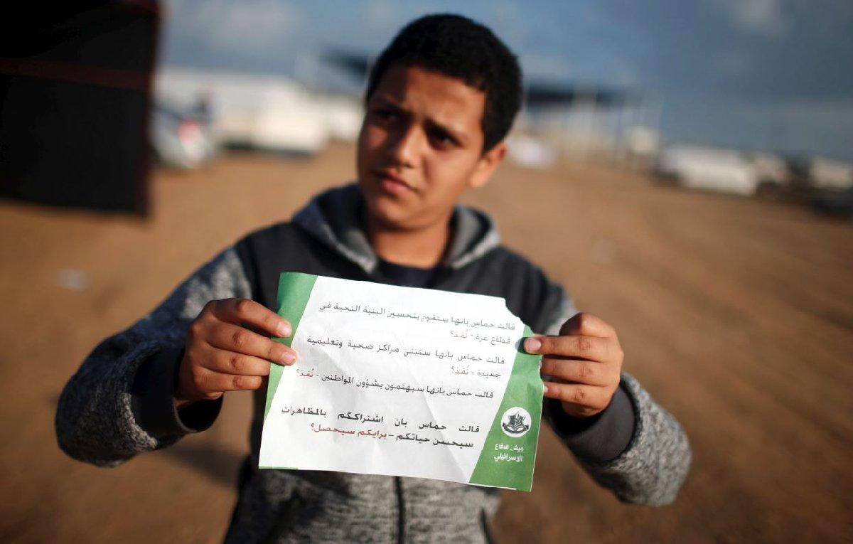 İsrail askerleri, gösterilerin başlamasından önce Filistinlilere havadan bildiri atarak uzaklaşmasını istedi.