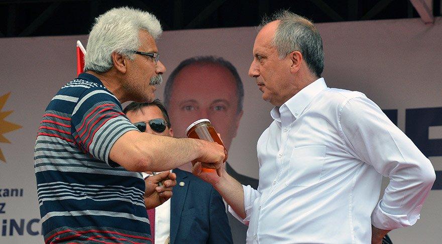 CHP'nin cumhurbaşkanı adayı Muharrem İnce, Çorum'da Hürriyet Meydanı'nda toplanan vatandaşlara seslendi. Bir vatandaş konuşma alanına çıkarak Muharrem İnce'ye bir kavanoz bal hediye etti
