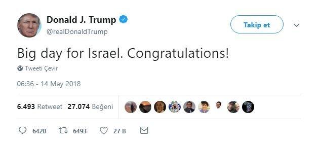 """Gazze'de en az 41 kişinin hayatını kaybettiği ve binlerce insanın da yaralandığı gösteriler devam ederken Trump, sosyal medya üzerinden, """"Bugün İsrail için büyük bir gün. Tebrikler"""" mesajını paylaştı."""