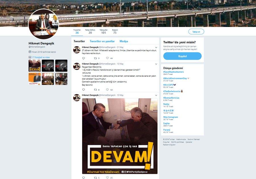 """Dengeşik'in sosyal medya hesabındaki profil fotoğrafının da """"AKP'li olması"""" dikkat çekti"""