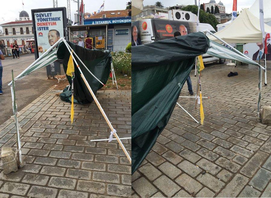 FOTO:SÖZCÜ - Saldırı sonrası HDP standı bu hale geldi.
