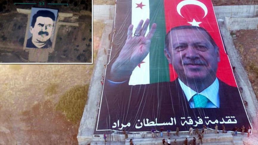 Afrin'de Öcalan resminin imha edildiği alana dev Erdoğan posteri