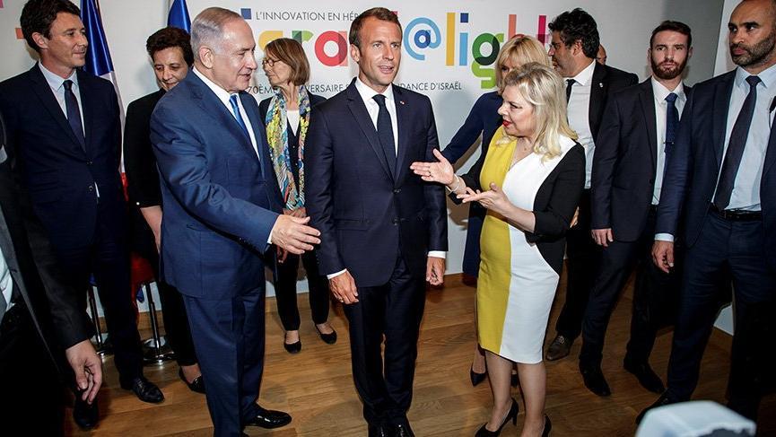 Merkel'den sonra Macron'da Netanyahu'nun elini sıkmadı