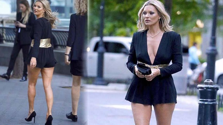 Kate Moss'un bacakları geceye damga vurdu