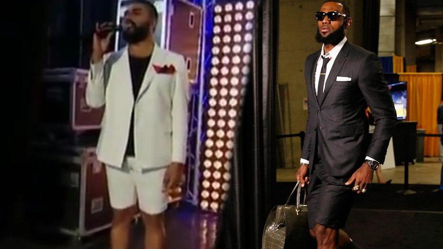 LeBron James'in şortlu takım elbisesi şaşırttı