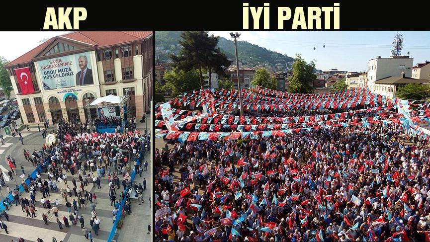 Ordu farkı… İYİ Parti-AKP mitingini karşılaştırdılar