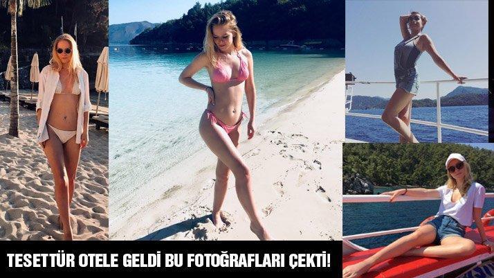 Tesettür otelde bikinili fotoğraf çektirdi kriz çıktı