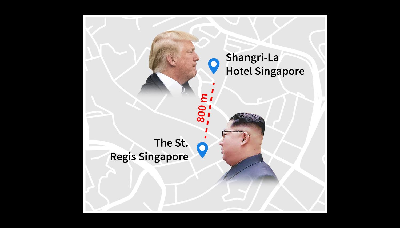 Singapur'da bir araya gelecek iki liderin kaldıkları otel arasında sadece 800 metre mesafe var.