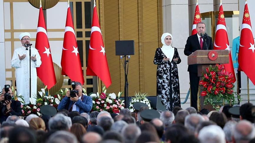 Son dakika: Cumhurbaşkanı Erdoğan Saray'da konuştu! Dua Diyanet'ten geldi