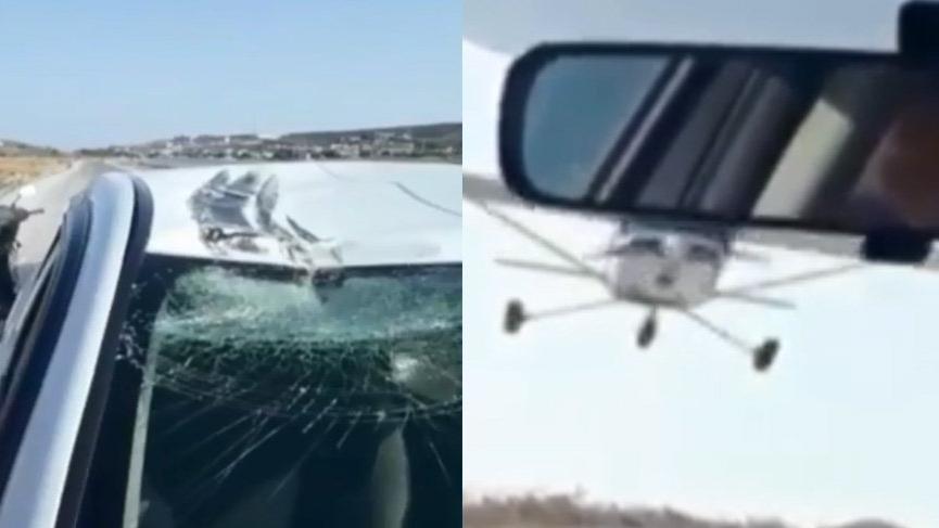İzmir'de uçak, otomobile çarptı