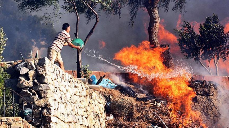 Bodrum'da çıkan yangın, yazlık siteleri tehdit etti