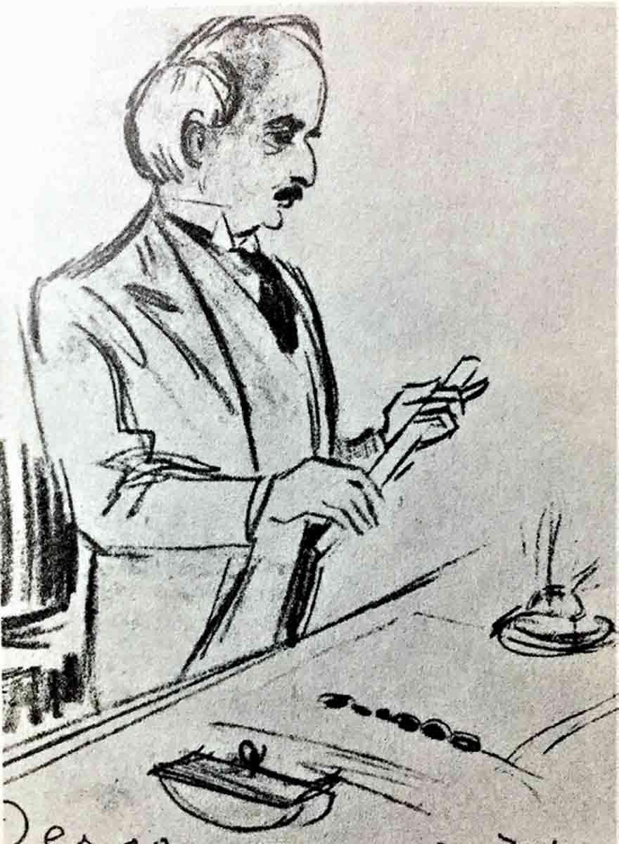 Karikatürist Derso'nun, Lozan'ı imzalamaya hazırlanan İsmet Paşa çizimi.