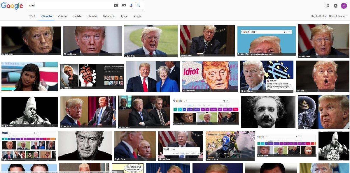 Türkiye'de bu haber yazılırken arama motorundaki 24 fotoğraf karesinden 17'sinde Trump vardı.