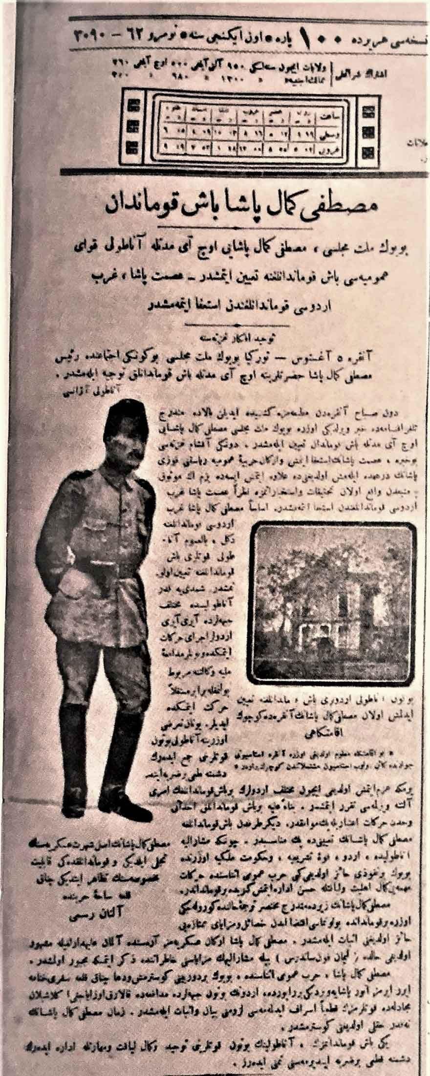 'Mustafa Kemal Paşa Başkumandan' başlıklı haber. (Tevhid-i Efkar, 9 Ağustos 1921)