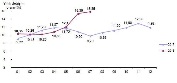 Yıllık enflasyon değişim oranı. Tablo/TÜİK