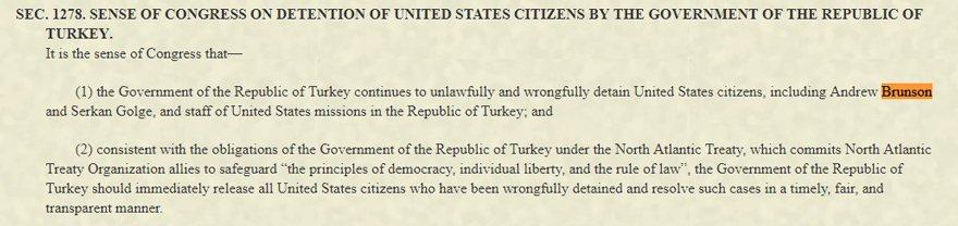 Savunma tasarısında Türkiye'nin Brunson ve diğer ABD'li mahkumları serbest bırakması istendi. Foto: Orjinal tasarıdan