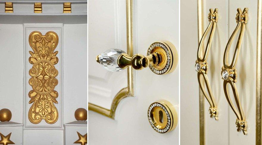 Apartmanın içindeki kapı kolları ve bir çok detay 24 ayar altınla kaplı. Foto: İHA