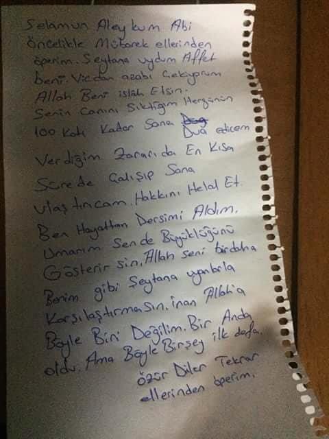 Motor hırsızı pişmanlığını bu not ile dile getirdi. DHA