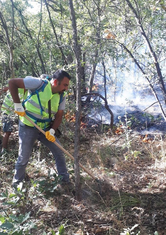 Yangına vatandaşlar kendi imkanları ile müdahale ediyor Foto: DHA
