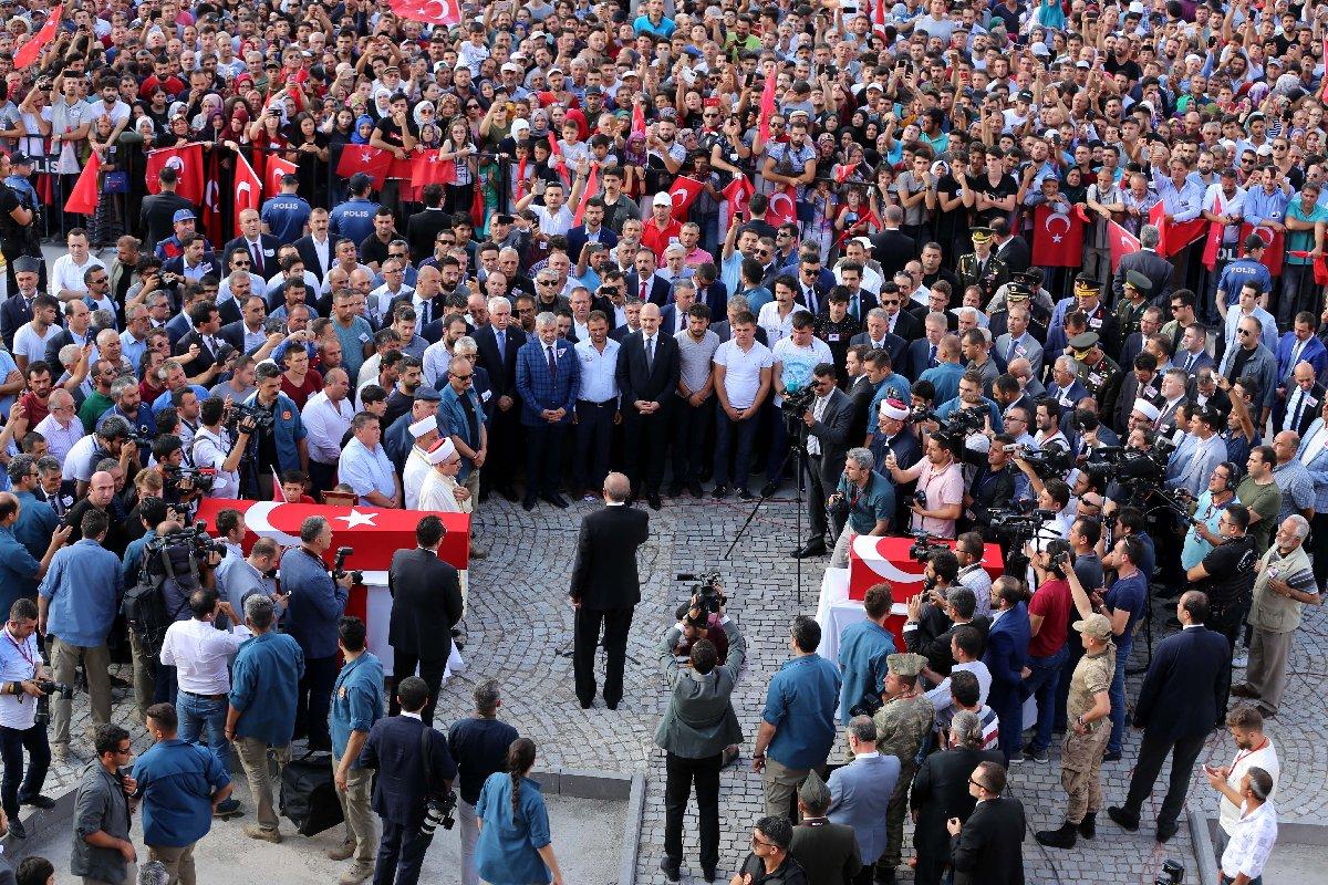 Erdogan cenaze namazı sonrası kısa bir konuşma yaptı. AA