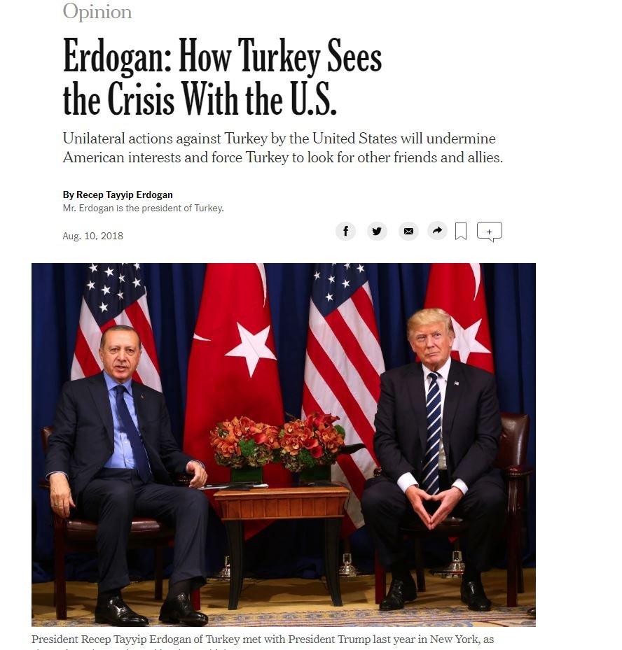 Gazete, Türkiye-ABD ilişkilerine geniş yer ayırdı. Erdoğan'ın makalesinin yanı sıra gelişmeyi başka köşe yazılarıyla da duyurdu.
