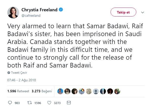 Freeland'in tweeti iki ülke arasında diplomatik kriz yarattı.