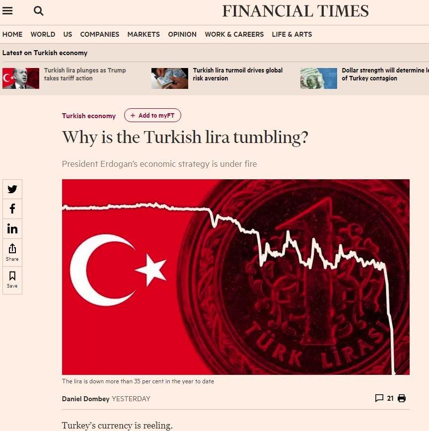 Financial Times kapsamlı bir haber hazırlamanın yanı sıra TL'deki değer kaybının detaylarını da aktardı.