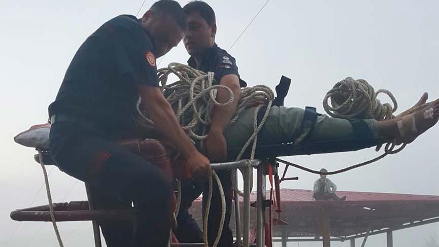 Elektrik akımına kapılan işçi böyle kurtarıldı