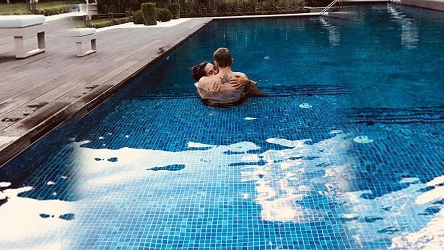 Şükran ve Caner'den havuzda aşk pozları