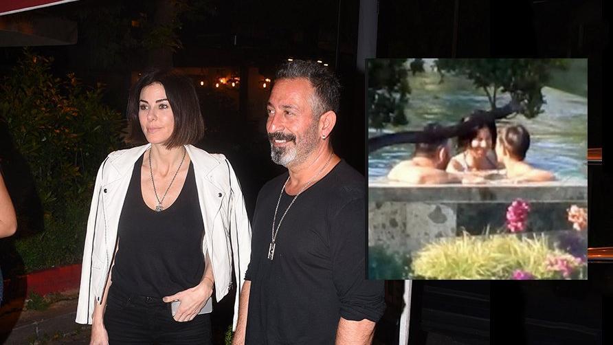 Cem Yılmaz sevgilisi Defne Samyeli ve oğlu Kemal ile havuz keyfi yaptı