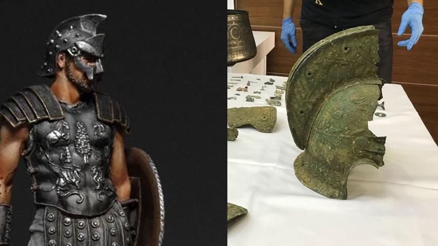 Tarihi eser operasyonunda Spartaküs miğferi bulundu