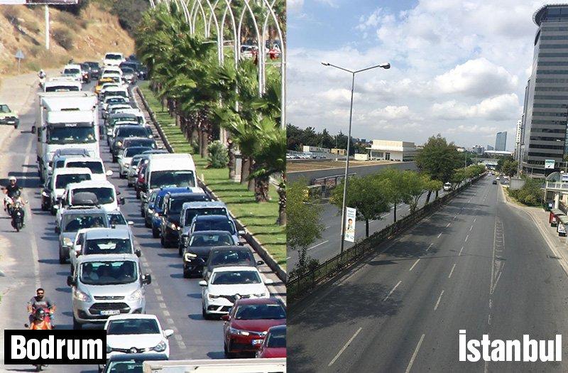 Bodrum'da trafik kilitlenirken İstanbul rahat bir nefes aldı