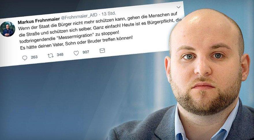 """AfD Milletvekili Markus Frohnmaier, Almanlar'a """"kendinizi korumak için sokağa inin"""" diye dehşet çağrısı yaptı."""