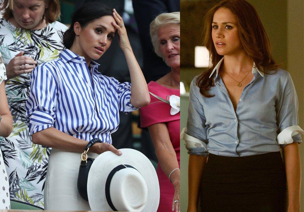 Meghan Markle, Suits dizisindeki Rachel Zane karakteri gibi genelde gömlek giyiyor...
