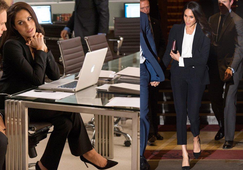 Düğünden sonra giydiği takım elbisesi ve stilettoları da Rachel karakteriyle aynı...