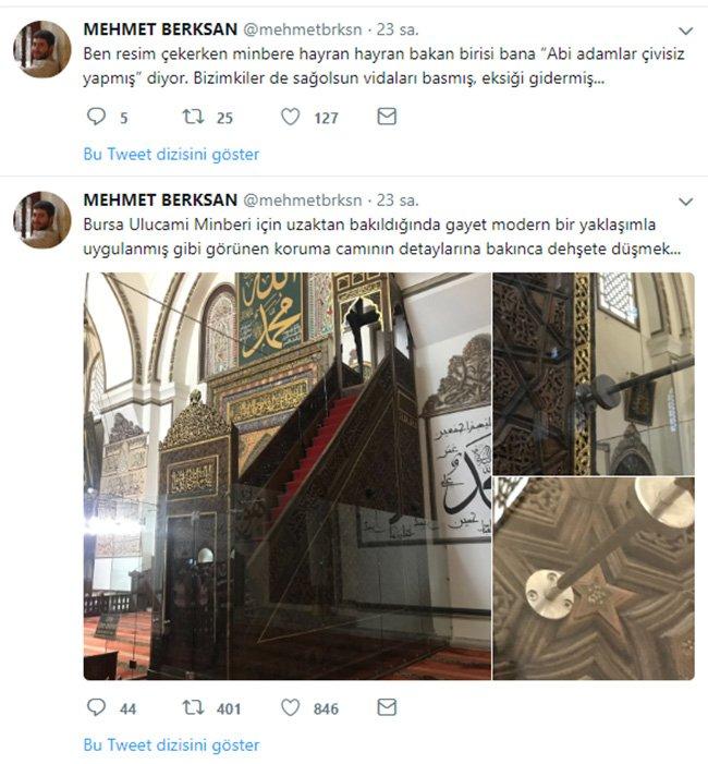 Skandalı ortaya çıkaran Mimar Mehmet Berksan çektiği fotoğrafları twitter hesabından paylaştı.