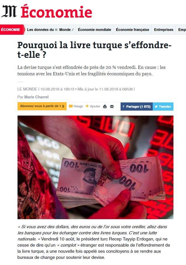 Fransa'nın saygın gazetelerinden Le Monde, gelişmeye geniş yer ayırdı.