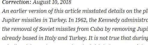 Gazete, makalenin internet üzerinde yayınlanmasının ardından bir düzeltme bilgisi geçti.