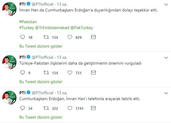 PTİ'nin resmi hesabından Türkçe paylaşım yapıldı.