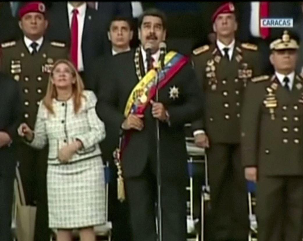 Venezuela Devlet Başkanı Maduro ve kurmayları patlamayı böyle izledi.