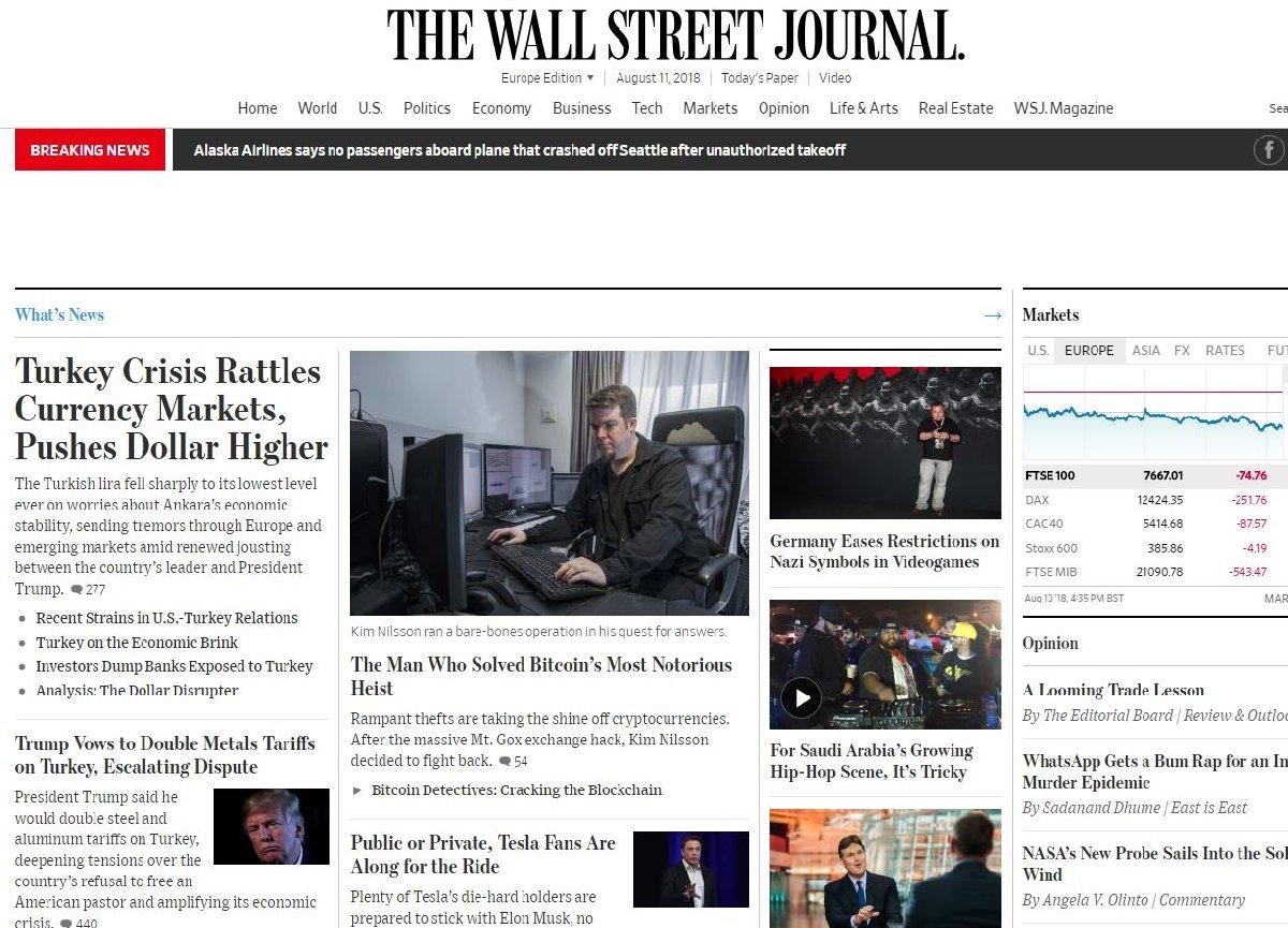 Wall Street Journal, TL'deki değer kaybının bütün piyasaları etkilediğini okuyucularına duyurdu.
