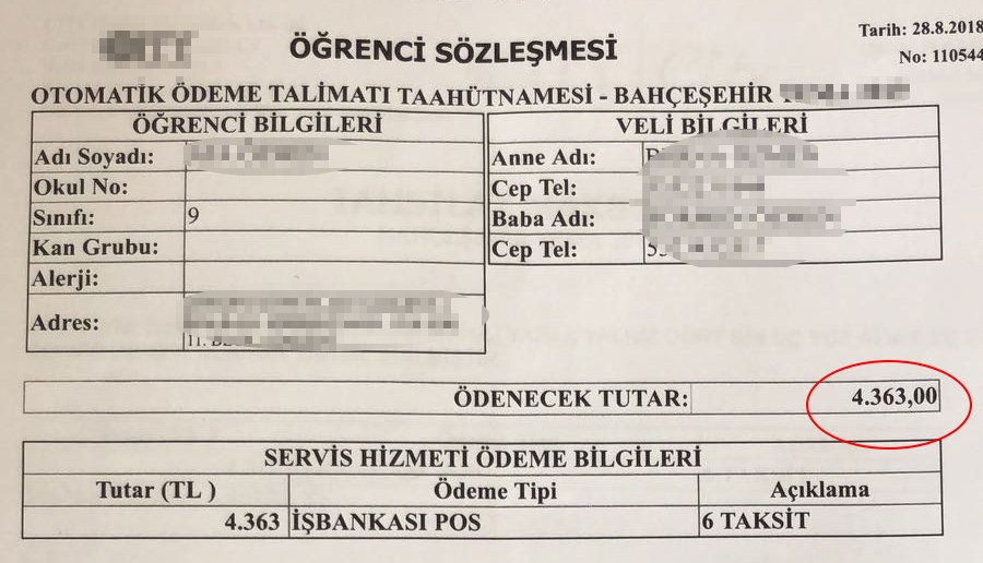 İstanbul'da bir başka okulun kısa mesafe ücreti: 4 bin 363 lira...