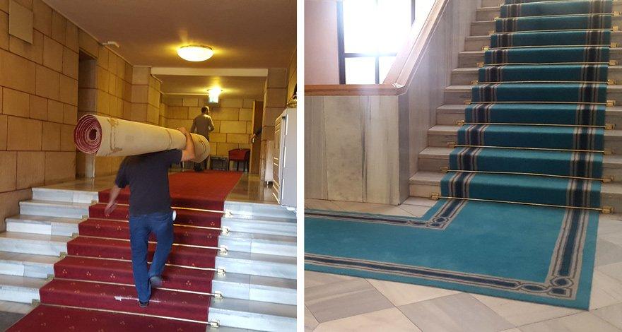 AÇILIŞ ÖNCESİ HALILAR DEĞİŞTİ TBMM 1 Ekim'de açılacak. Açılış öncesi Meclis'in kırmızı halıları değiştirildi. Meclis turkaz halılarla böyle döşendi, tepki çekti. Fotoğraflar: Zekeriya Albayrak