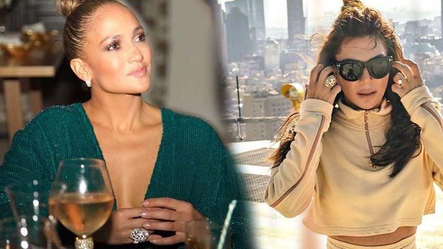 Ebru Yaşar'ın Jennifer Lopez yüzüğü dikkatlerden kaçmadı